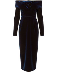 Emilio De La Morena Navy Velvet Oili Midi Dress