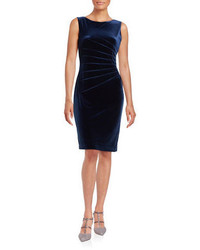 Ivanka Trump Velvet Pintucked Sheath Dress