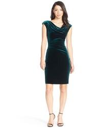 Vince Camuto Cowl Neck Velvet Sheath Dress