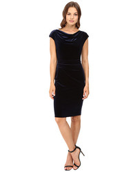Vince Camuto Drape Neck Sheath With Side Tucks