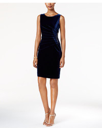 Ivanka Trump Zipper Trim Velvet Sheath Dress