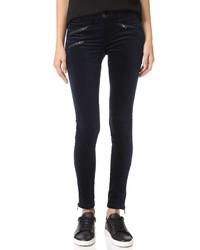 Navy Velvet Skinny Pants