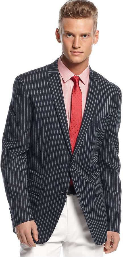 Bar III Carnaby Collection Navy Bold Striped Sport Coat Slim Fit ...