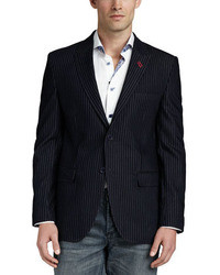 Bogosse Francesco Velvet Striped Blazer Navy