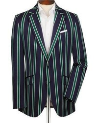 Charles Tyrwhitt Navy And Green Classic Fit Striped Boating Blazer