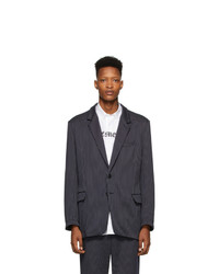Vetements Navy Pinstripe Jersey Blazer