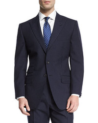 Tom Ford Oconnor Base Peak Lapel Pinstripe Two Piece Suit Navy