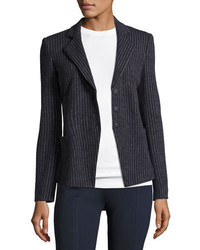 Pinstripe jersey blazer indigo medium 3698249