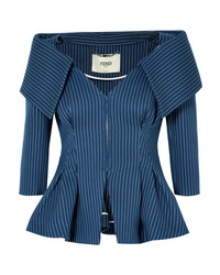 Fendi Pinstriped Off The Shoulder Cotton Blend Twill Blazer