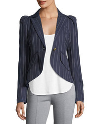 Pouf sleeve one button pinstriped blazer medium 4380809