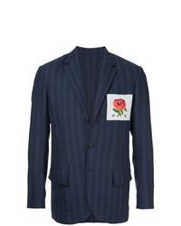 Kent & Curwen Rose Patch Striped Blazer