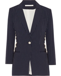Veronica Beard Taylor Lace Up Pinstriped Crepe Blazer Midnight Blue