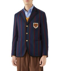 Gucci Tiger Patch Stripe Cotton Jacket