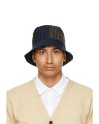Barena Navy And Black Linen Gianto Bucket Hat