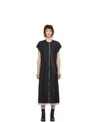 Acne Studios Navy Wool Pinstripe Front Zip Di Dress