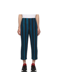 Homme Plissé Issey Miyake Blue And Black Stripe Rod Trousers