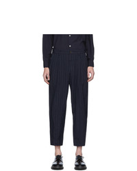 Comme des Garcons Homme Deux Navy Textured Dobby Trousers