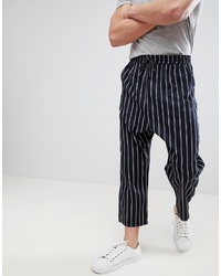 ASOS DESIGN Oversized Tapered Trousers In Navy Stripe With Elasticated Waist