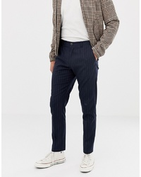 Selected Homme Tapered Fit Trousers With Chalk Stripe