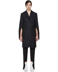 Jacquemus Navy Pinstripe Side Tie Coat