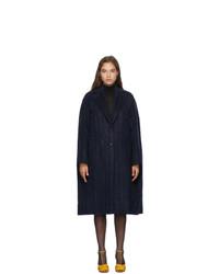 Nina Ricci Navy Wool Pinstripe Coat