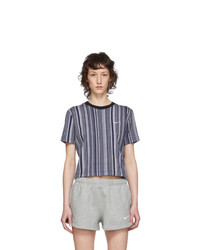 Nike Blue And White Striped Essential T Shirt