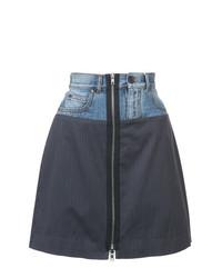 Maison Margiela Patched Pinstripe And Denim Mini Skirt