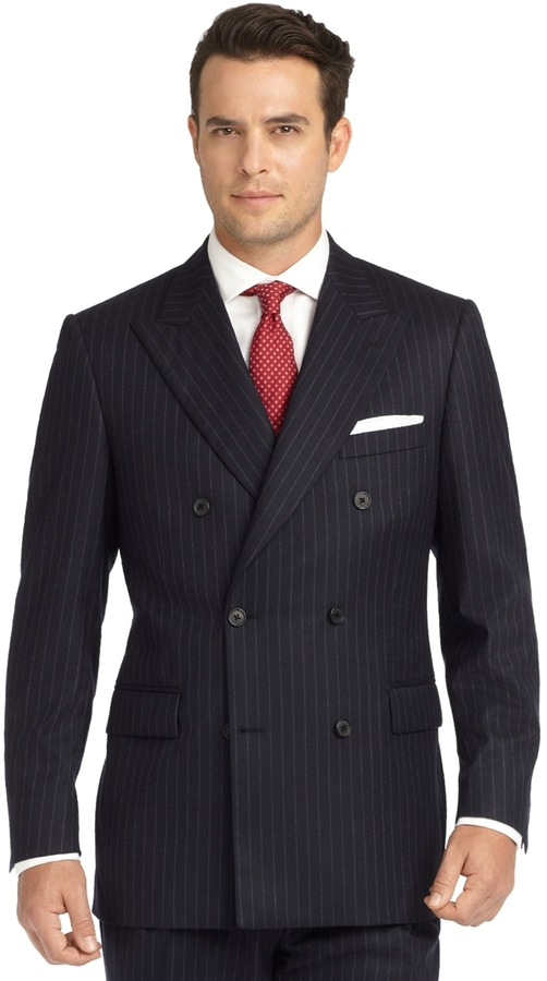 Brooks Brothers Madison Fit Chalk Stripe Double Breasted ... Ryan Gosling Fashion Suit