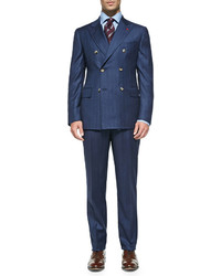 Isaia double breasted stripe suit blue medium 125179