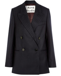 Jara double breasted pinstriped wool twill blazer navy medium 5083445