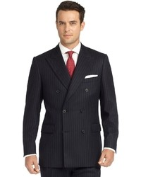 Brooks Brothers Madison Fit Chalk Stripe Double Breasted Flannel 1818 Suit