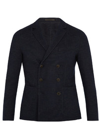 Giorgio Armani Pinstriped Wool Blend Double Breasted Blazer