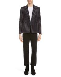 Saint Laurent Stripe Double Breasted Wool Jacket