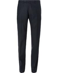 Dries Van Noten Blue Slim Fit Pinstriped Wool Suit Trousers