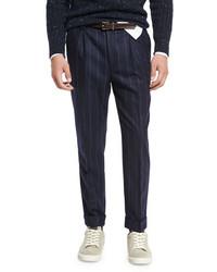 Brunello Cucinelli Chalk Stripe Single Pleat Leisure Pants Navy