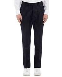 Officine Generale Chalk Striped Flannel Trousers Navy Size 46eu