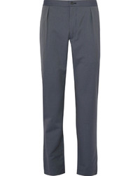 Pleated pinstriped wool blend suit trousers medium 4355879