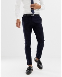 AVAIL London Skinny Fit Pinstripe Suit Trousers In Navy