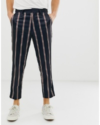 ASOS DESIGN Tapered Smart Trouser In Navy Satin Stripe