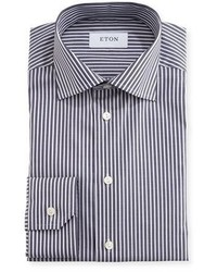 Eton Slim Fit Striped Dress Shirt Navywhite