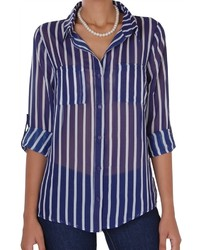 Vertical stripe chiffon blouse medium 446603