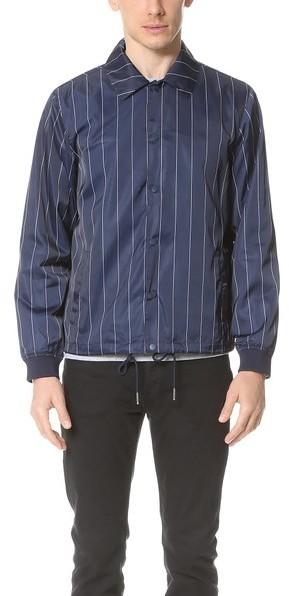 Men's Fashion › Jackets › Navy Vertical Striped Jackets Gant Rugger R1  Pinstripe Coach Jacket ...