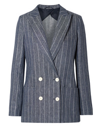 Max Mara Bellico Double Breasted Pinstriped Linen Blazer