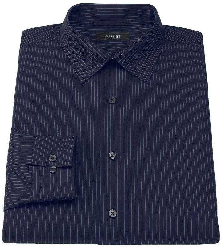 Apt 9 Slim Fit Pinstripe Spread Collar Dress Shirt