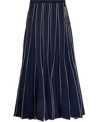 Tory Burch Pleated Embroidered Silk Maxi Skirt