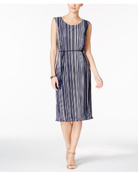 Striped pleated belted dress medium 5375600