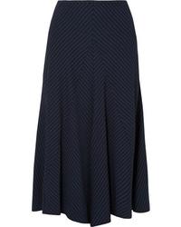 Chloé Asymmetric Pinstriped Woven Midi Skirt