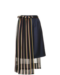 GUILD PRIME Striped Asymmetric Midi Skirt