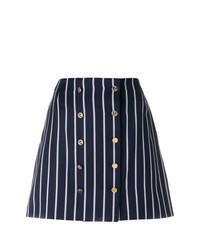 Navy Vertical Striped Mini Skirt