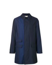 Navy Vertical Striped Overcoat